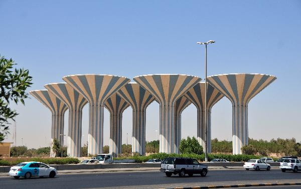 """Mushroom"" style water towers in Kuwait City"